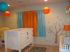 Baby Nursery: Sweet Wall Decals In Baby Nursery Combined With Modern Cradle And Cute Puff And Floral Rug: