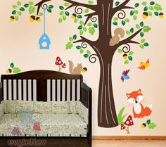 Woodland Animals Forest Animals Wall Decal Huge Tree Nursery Decal - Nursery wall decals animals