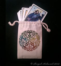 Elemental Celtic Pentacle Tarot Bag -  Pagan Wiccan - Brigid Ashwood. $12.00, via Etsy.