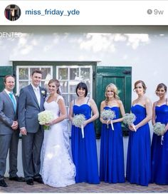 Miss Friday bridesmaids dresses...love the colour! Cobalt/royal blue maxi dress straps or stapless