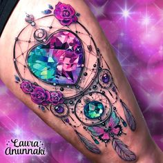 🌸Laura Anunnaki🌸 - 💐🦋Magical jeweled dream catcher brooch🦋💐 This is my first time drawing a dream catcher in my life! It a was different idea and really fun! Purple Tattoos, Girly Tattoos, Badass Tattoos, Feather Tattoos, Pretty Tattoos, Sexy Tattoos, Beautiful Tattoos, Body Art Tattoos, Sleeve Tattoos