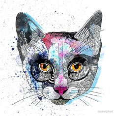   Photo Print of Watercolour Cat by Red Bubble ~ $6.60  