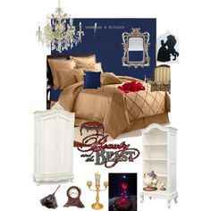 Disneyhome- Beauty and the Beast inspired Bedroom by rachel-surrette on Polyvore featuring interior, interiors, interior design, home, home decor, interior decorating, Jonathan Charles Fine Furniture, James R. Moder, Veratex and Disney