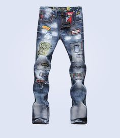 Cheap patchwork jeans, Buy Quality denim jeans directly from China designer denim jeans Suppliers: Men's Hip Hop Rock Patchwork Jeans Badge Hole Straight Slim Pants Ripped Denim Jeans Fashion Designer Casual Trousers Blue Jeans Mens, Ripped Jeans Men, Torn Jeans, Patched Jeans, Jeans Slim, Jeans Skinny, Slim Fit Pants, Skinny Men, White Jeans