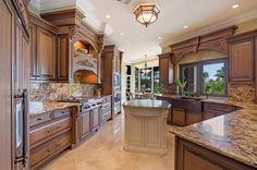 Tuscan kitchen - brown and cream.  Royal Harbor | Naples, Florida