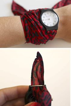Cool idea. Srap fabric and viola... Custom watch strap.