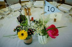 Alex and Joel's real life wedding at Mythe Barn - Table centrepiece | CHWV. Image courtesy of Pete Henderson Photography
