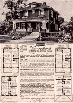 sears four square foursquare craftsman bungalow plan kit home vintage eclectic exterior cottage tiny small house design The Plan, How To Plan, Sears Catalog Homes, Four Square Homes, Architecture Design, Beautiful Architecture, Vintage Architecture, Architecture Interiors, Vintage House Plans