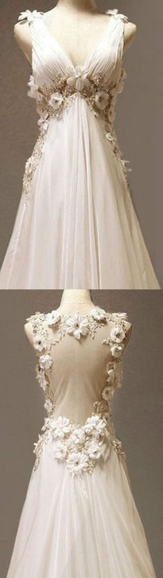 beautifully romantic a line lace flower keyhole backless organza v neck chiffon wedding gown