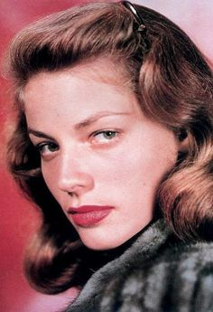 Go for the classic old Hollywood lip which Lauren Bacall and just about every other actress of the time had. Line your lips in red, and fill in with matching lipstick using a lip brush. Blot and apply another coat.    Finish with a little touch of Vaseline or gloss in the centre of the bottom lip for subtle shine and a fuller illusion.