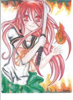 Fiery Ninja! - I decided to draw Shana from shakugan no shana beacause she is really cute and was the first thing that popped into my mind when i thought of NINJA! Even though i don't think she is a ninja..... Oh well if anyone wants to know what I used on this picture I used watercolours and watercolour pencils.  I hope it looks ok >//<  This is my first time entering one of these and I wasn't too sure about it lol!  Thanks!