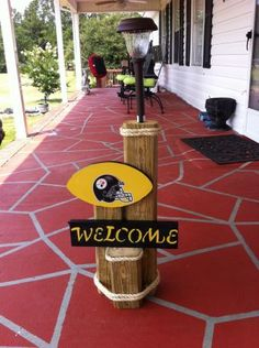 """GETTING DONE ASAP! Simple logs, rope, solar light and steelers sign ♥ Going to make one for """"The Cmar's"""" as well (: Landscape Timber Crafts, Landscape Timbers, Outdoor Projects, Wood Projects, Woodworking Projects, Outdoor Decor, Woodworking Plans, Solar Light Crafts, Solar Lights"""