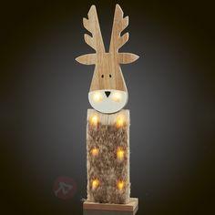 Śliczna dekoracyjna lampa LED Renifer z drewna 4523436