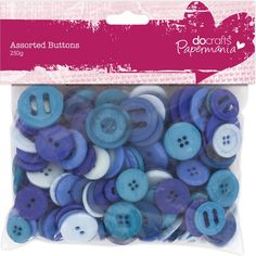 Papermania assorted button in various shades of blue. A pack contains approx 250 grams of beautiful buttons in varying shapes and sizes, perfect for your crafti Bunting Design, Fabric Crafts, Paper Crafts, Making Greeting Cards, Button Crafts, Scrapbooks, Decoupage, Craft Projects, Card Making