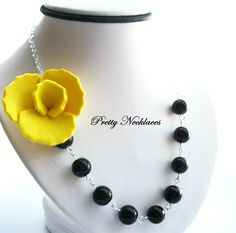 6 BRIDESMAIDS NECKLACES, Black & Yellow Flower Necklace, Bridesmaid Jewelry, Wedding Jewelry (6 Bridal Necklaces). $192.00, via Etsy.