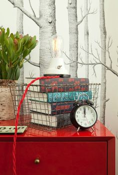 Jenny Wolf Interiors - Glossy red lacquer dresser, Cole & Son Woods wallpaper, vintage ...