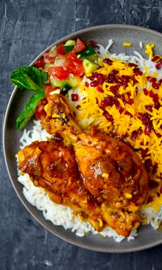 An authentic recipe for Persian Saffron Chicken with Barberry Rice! This is such an amazing combo of flavors and spices! Iranian Cuisine, Iranian Food, Persian Chicken, Persian Rice, Arabic Food, Arabic Dessert, Arabic Sweets, Saffron Chicken, Eastern Cuisine