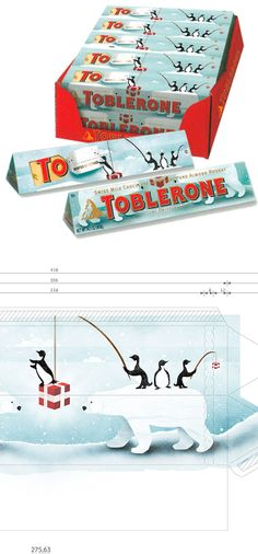 Toblerone Christmas packaging - could we take a standard product and customise it with a printed wrap Japanese Wrapping, Limited Edition Packaging, Art And Hobby, Toblerone, Weird Shapes, Pretty Packaging, Christmas Gift Wrapping, Clever Design, Packaging Design Inspiration