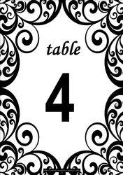Free Swirls printable DIY Table Numbers - Free Table Numbers