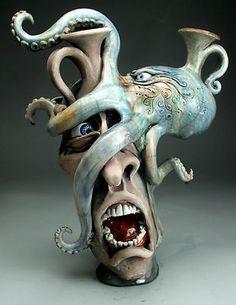 Octopus Jug Attacking A Face Jug Raku Pottery Folk Art w Sketch by Grafton | eBay