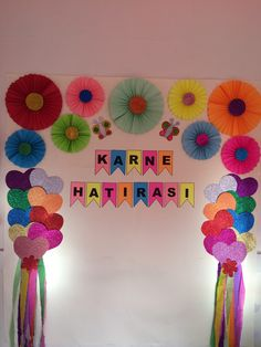 Happy Birthday Decor, Birthday Decorations At Home, Diy Birthday Banner, Birthday Party Decorations Diy, School Decorations, Art Drawings For Kids, Diy Crafts For Kids, Creations, Paper Crafts