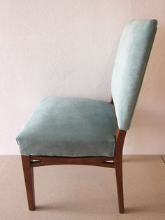 FULLY RESTORED and reupholstered Mid Century chair, Turquoise velvet Danish style vintage chair