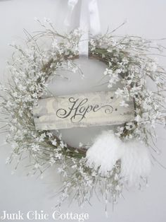 DIY winter wreath. This is a Junk Chic Wreath.
