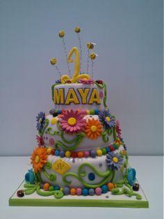 Torta primo compleanno con gerbere e apine per la piccola Maya