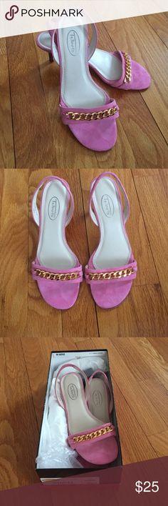 TALBOTS pink heels size 5.5 NWT in original box, TALBOTS pink heels with gold accent on toe. Great heel for the spring and summer! Smoke free pet free home. Comment any questions, I will accept other offers!! Talbots Shoes Heels