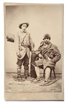ca. 1860-70's, [carte de visite portrait of two well-armed frontiersmen in winter garb including snowshoes, with bed rolls, knives, and revolvers; both wear snow goggles]