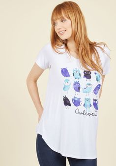 Owl-Inspiring Tastes Top - White, Solid, Casual, Owls, Short Sleeves, Fall…