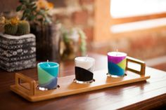 Use Crayons to Create Color Block Candles | Brit + Co