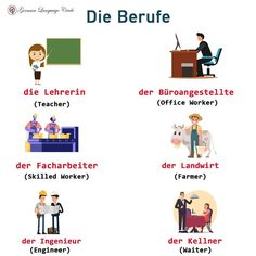 Die Berufe - The professions!👩🔧👷👩🔬 What is your profession?👀 .. .. For more: Follow @germanlanguagecircle  Follow @germanlanguagecircle  Follow @germanlanguagecircle  Follow @germanlanguagecircle .. __________________________________ .. #german #germanlanguagecircle #berufe #professions #languagelearningisfun #languageexchange #vokablen #vocabtoday #learnsomethingnew #learningeveryday #learninggerman #learning #lernenlernenlernen #deutschland🇩🇪 #deutsch #deutschsprechen #languageschool Learning German, German Language Learning, Germany, Family Guy, Comics, Fictional Characters, German Language, Languages, Boards