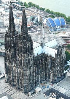 Cologne Cathedral. Built in 1248 in Cologne, Germany. The choir rises to 150 ft (46 m). Both towers are 500 ft (152 m) high.