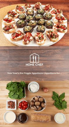 New Year's Eve Veggie Appetizers (Appetizers for Spinach and Parmesan Stuffed Mushrooms and Ricotta, Tomato, and Balsamic Bruschetta Veggie Appetizers, Mushroom Appetizers, Recipes Appetizers And Snacks, Appetizer Salads, Chef Recipes, Yummy Appetizers, Vegan Recipes, Apple Recipes, Copycat Recipes
