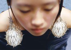 Yuwen Lu, Artist, Bulge, 2003, Ear Piece, silver, textile, steel, balloon