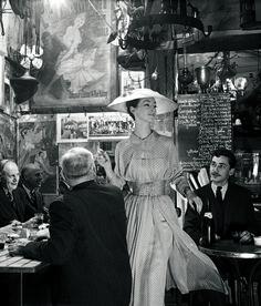 Recapturing Gleb Derujinsky's Photography, the Hard Way / Ruth Neimann wearing Lanvin Castillo at Roger La Grenouille in Paris.