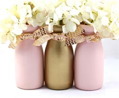Pink and Gold Baby Shower Decorations First Birthday Party Decorations Baby Shower Centerpiece Half Pint Painted Milk Bottles by HalfPintPMB on Etsy https://www.etsy.com/listing/235478767/pink-and-gold-baby-shower-decorations