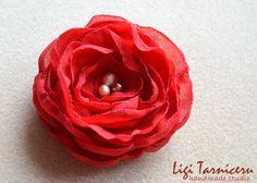 Red georgette rose with freshwater pearls Fresh Water, Veil, Pearls, Studio, Rose, Flowers, Handmade, Jewelry, Pink