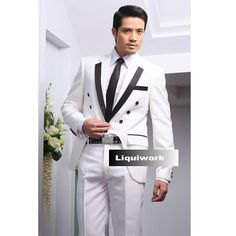 White Fitted Retro Vintage Cut A Way Suit for Men Wedding Prom Custom SKU-123151
