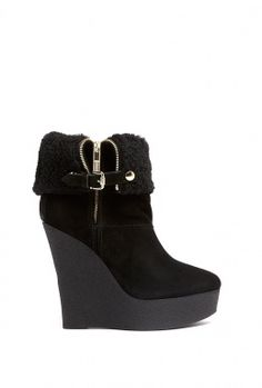 Studden Ship Fur Suede Wedge Boot by Burberry