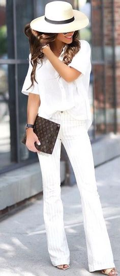 white on white | hat + shirt + pants + heels + bag