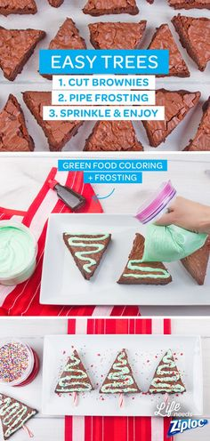 Impress your guests during the holidays and show store-bought brownies some love with this easy decorating idea that makes them look like Christmas trees. Just pipe green frosting onto a brownie using a Ziploc® bag, then sprinkle and serve. This fun design will make chocolate brownies taste even better!