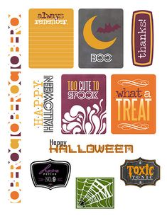 Simple Printables from the Paper Crafts & Scrapbooking October 2014 issue Free Planner, Printable Planner, Planner Stickers, Free Printables, Project Life Freebies, Project Life Cards, Art Halloween, Happy Halloween, Pocket Scrapbooking