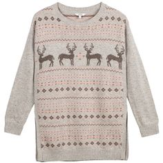 Fat Face Festive Deers Jumper, Grey Marl (3.290 RUB) ❤ liked on Polyvore featuring tops, sweaters, christmas sweaters, deer christmas sweater, long sleeve sweater, round neck sweater and christmas jumpers