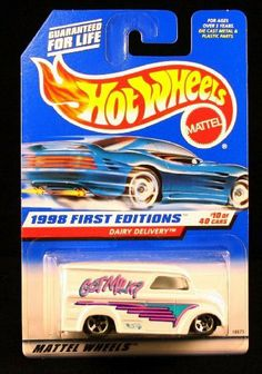 DAIRY DELIVERY * GOT MILK? * FIRST EDITIONS SERIES #10 of 40 HOT WHEELS 1998 Basic Car 1:64 Scale Series * Collector #645 * by Mattel. $0.01. Originally Released in 1998 - RETIRED / OUT OF PRODUCTION.. From Mattel. Ages 3+. DAIRY DELIVERY * FIRST EDITIONS SERIES #10 of 40 * HOT WHEELS 1998 Basic Car Series * Collector #645 *. Vehicle measures approximately 3 inches long. Pearl White, w/Teal & Pink Tampos w/\'Got Milk?\' & Hot Wheels logo on sides, and 5SP\'s. HOT WHEELS Basic...