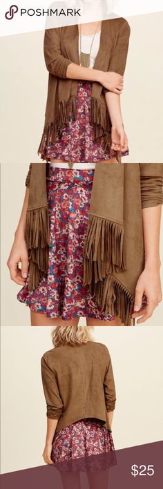 Hollister Suede Fringe Kimono size M Worn only once! Excellent condition Hollister Jackets & Coats