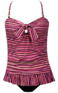 NEW PINK SLIMMING SHIRRED LONG RUFFLE TANKINI SWIMSUIT