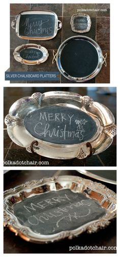 Upcycle old, worn or ruined silver platters in to chalkboards