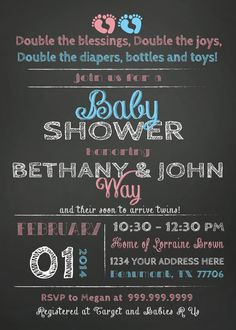 twins triplets couples baby shower invitation